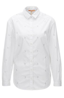 Chemisier Oversized Fit en toile de coton, Blanc