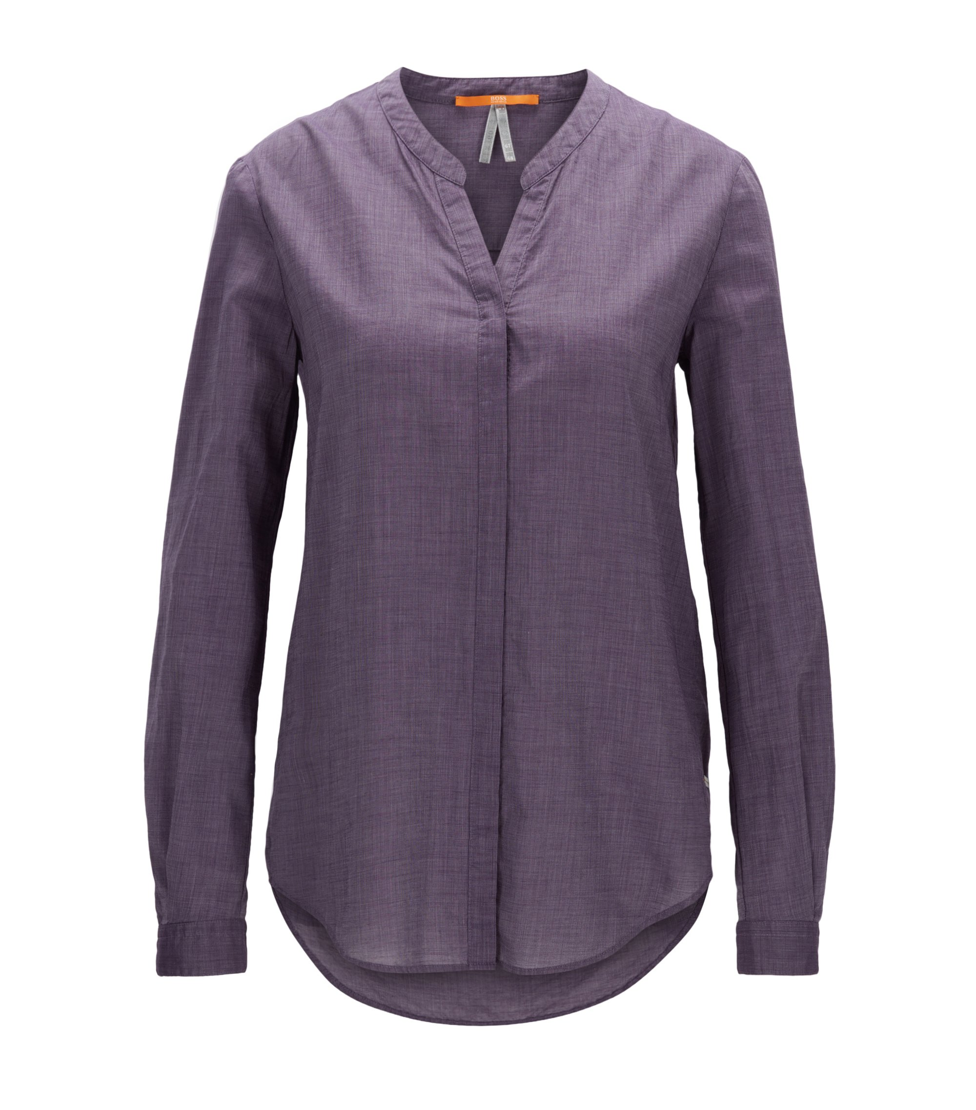 Relaxed-fit blouse in a lightweight cotton blend, Dark Purple
