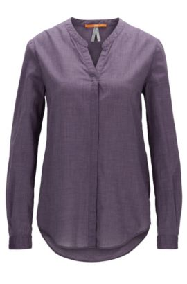 Relaxed-fit blouse in a lightweight cotton blend, Violet foncé