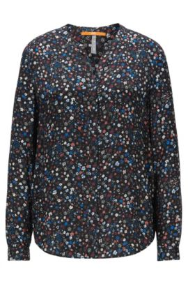 Relaxed-fit blouse in fluid fabric, Patterned