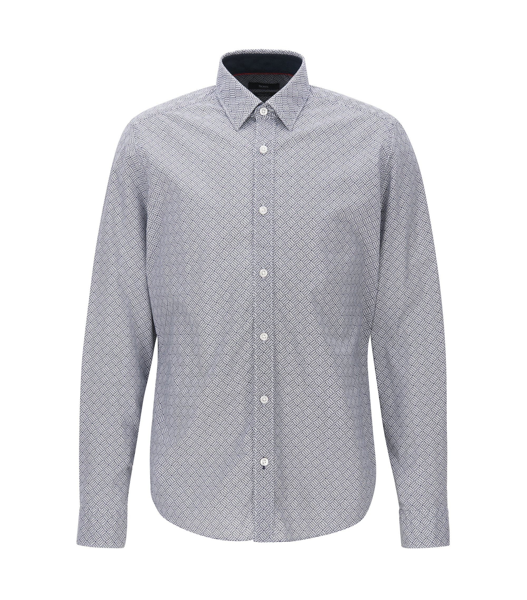 Regular-fit shirt in stretch poplin, Patterned
