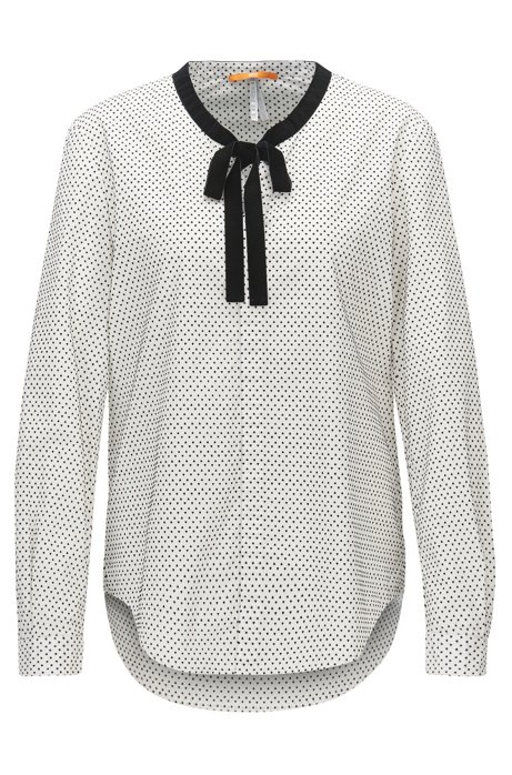 Flock-print blouse in a relaxed-fit with bow detail, Patterned