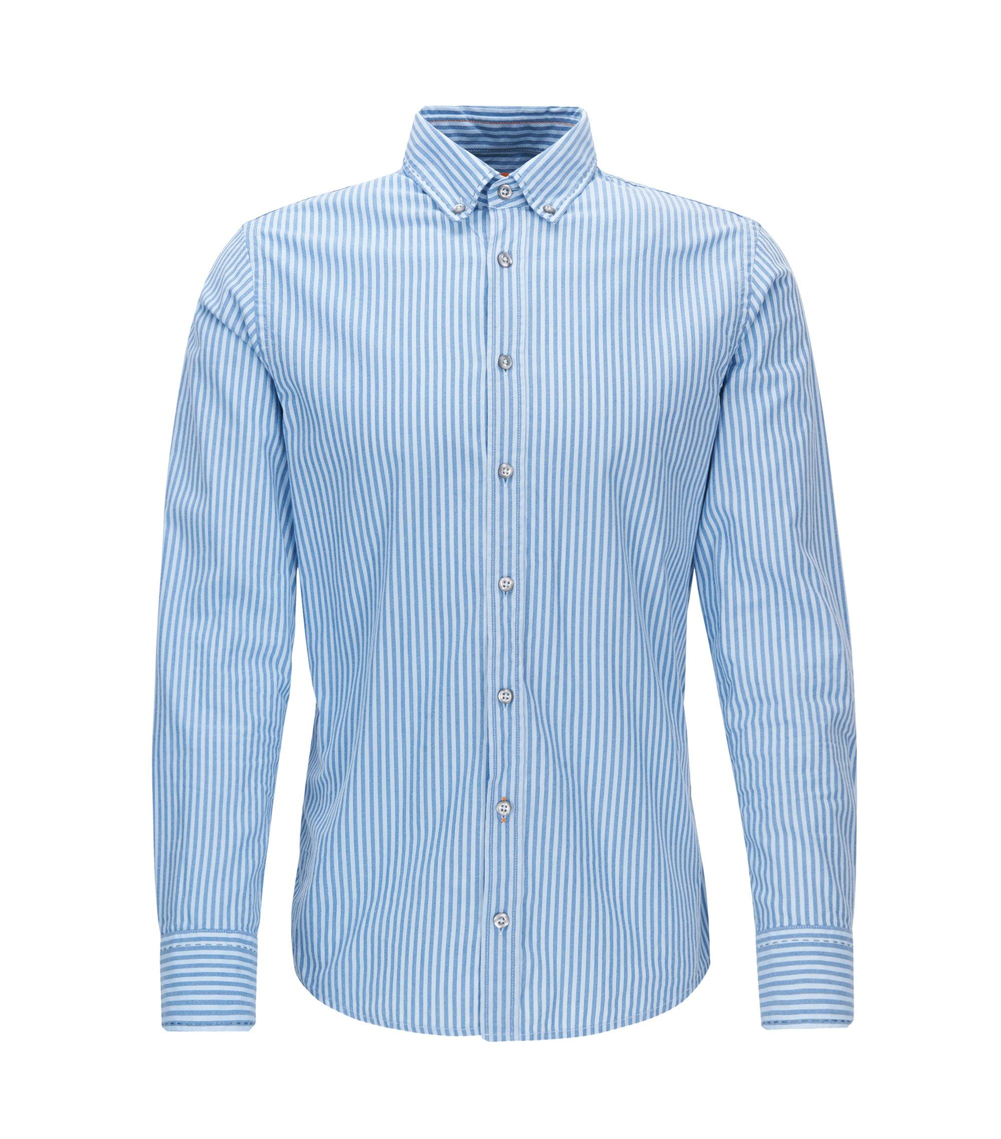 Camicia slim fit in cotone a righe, Blu