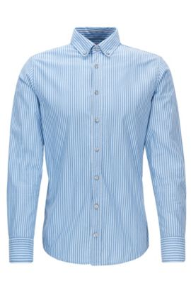 Slim-fit shirt in striped cotton, Blue