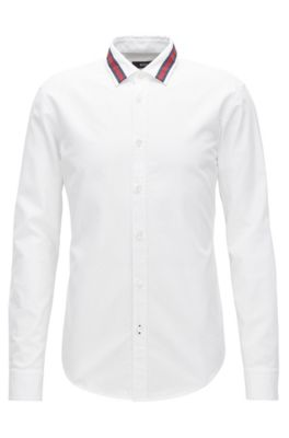 Slim-fit cotton shirt with feature collar, White