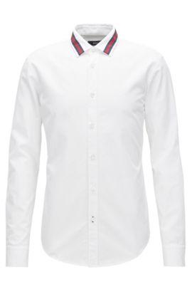 Camicia slim fit in cotone con colletto in risalto, Bianco