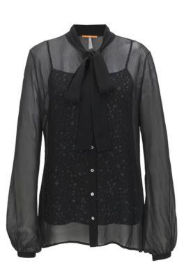 Transparante regular-fit blouse met hemdje, Zwart