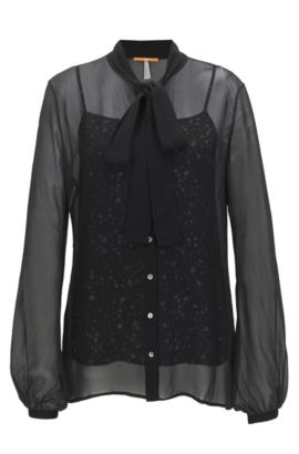 Transparante regular-fit blouse met hemdje, Zwart