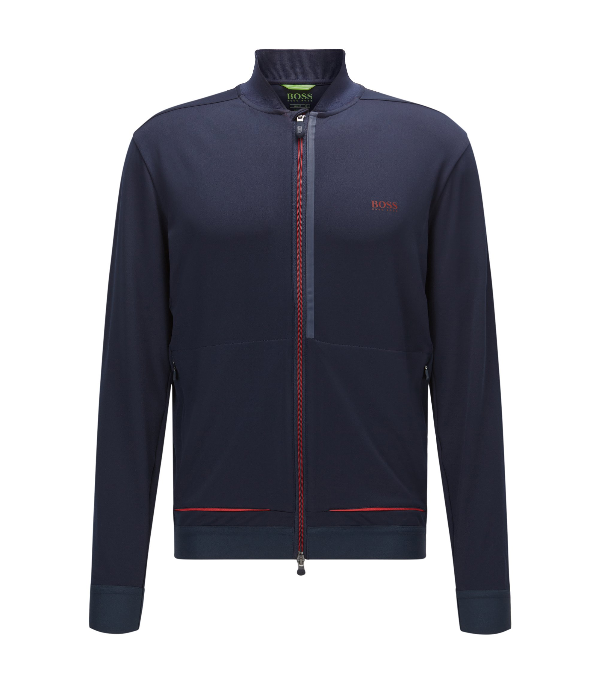 Slim-fit jacket in technical stretch, Dark Blue