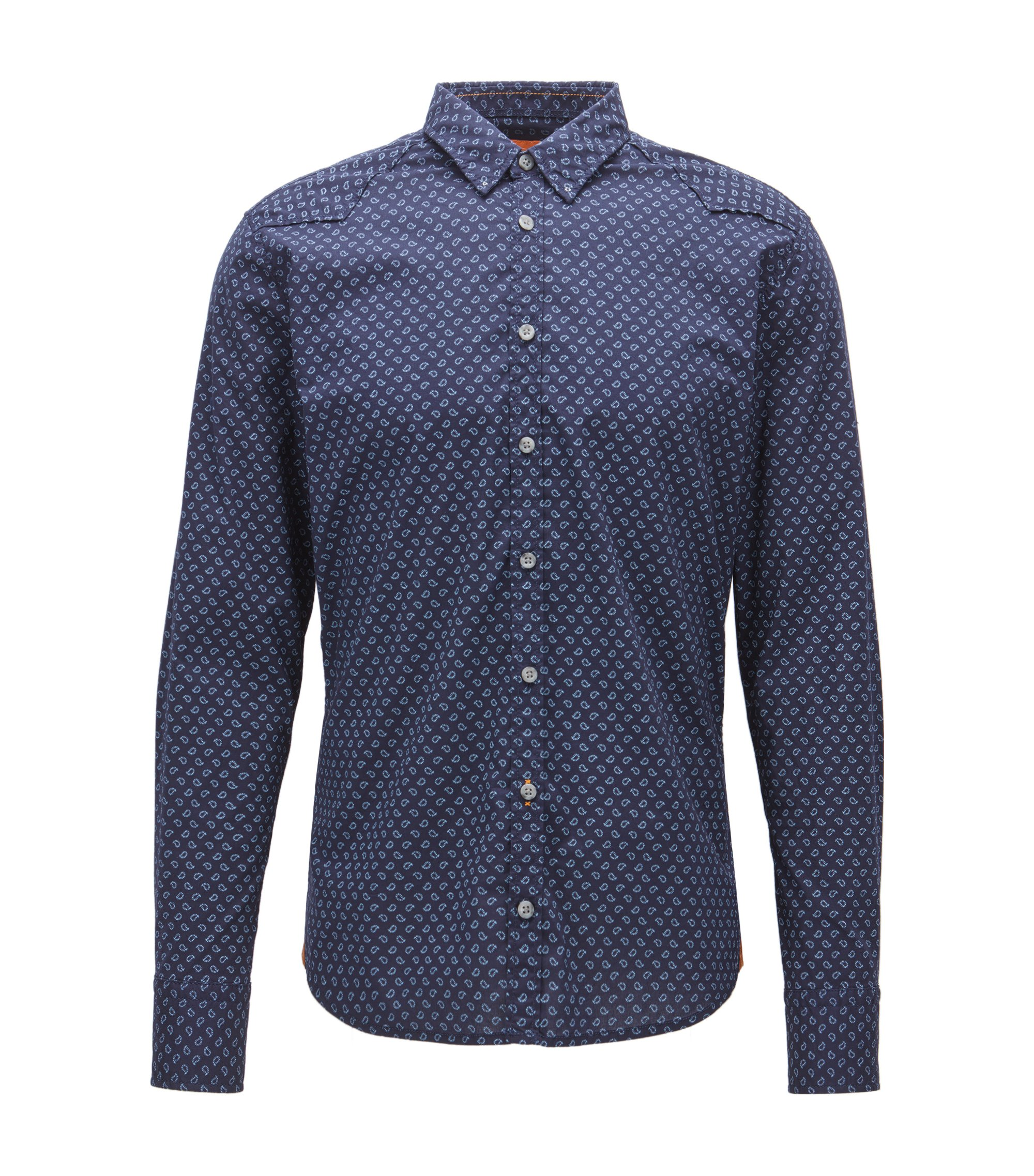 Extra slim-fit overhemd van een katoenmix met print, Donkerblauw