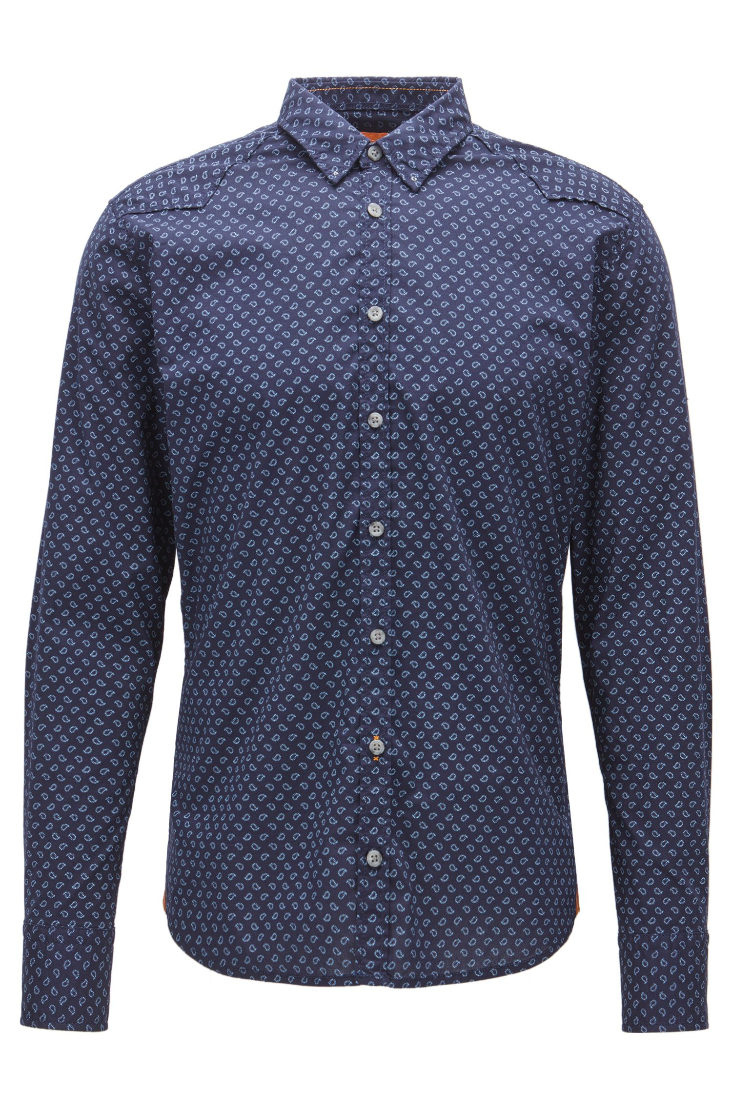 Extra-slim-fit shirt in printed cotton blend