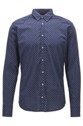 Extra-slim-fit shirt in printed cotton blend, Dark Blue