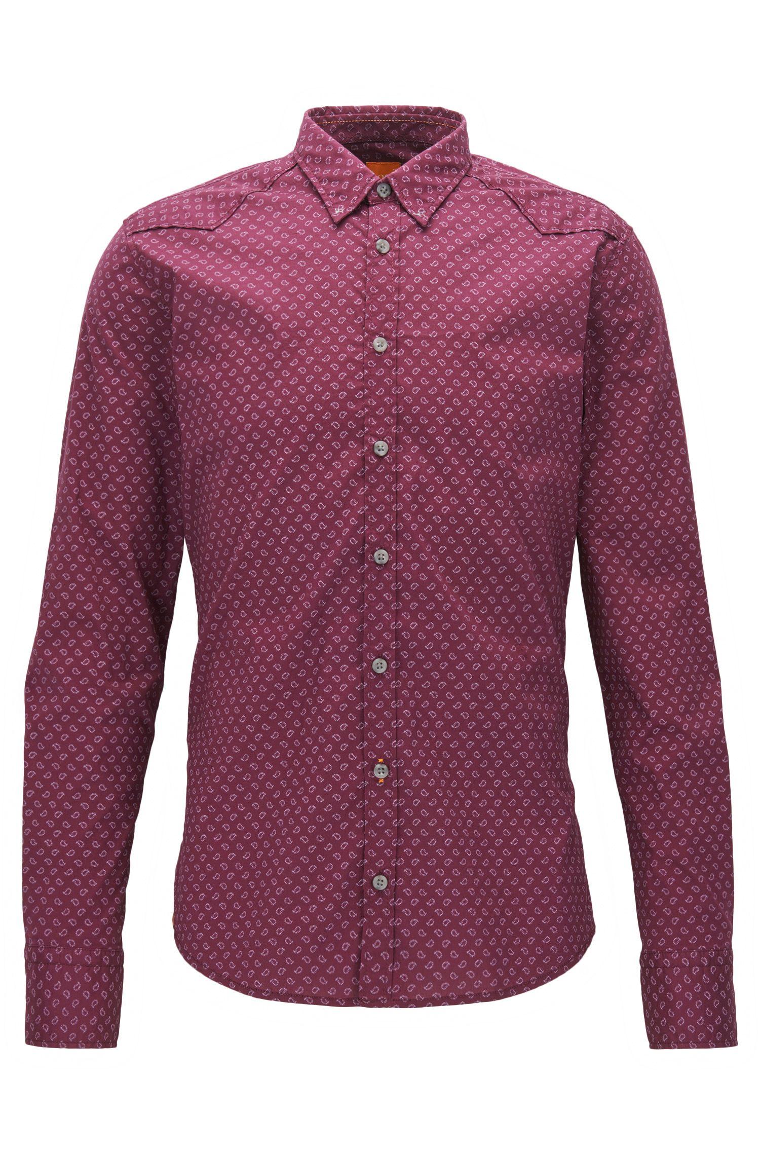 Extra Slim-Fit Hemd aus Baumwoll-Mix mit Allover Print