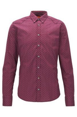 Extra Slim-Fit Hemd aus Baumwoll-Mix mit Allover Print, Dunkelrot