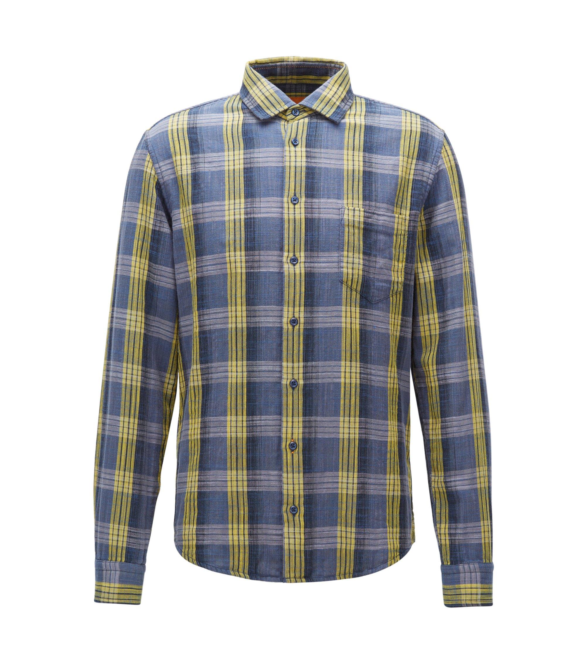 Slim-fit overhemd van gemêleerde katoen, Bedrukt