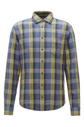 Camicia slim fit in cotone mélange, A disegni