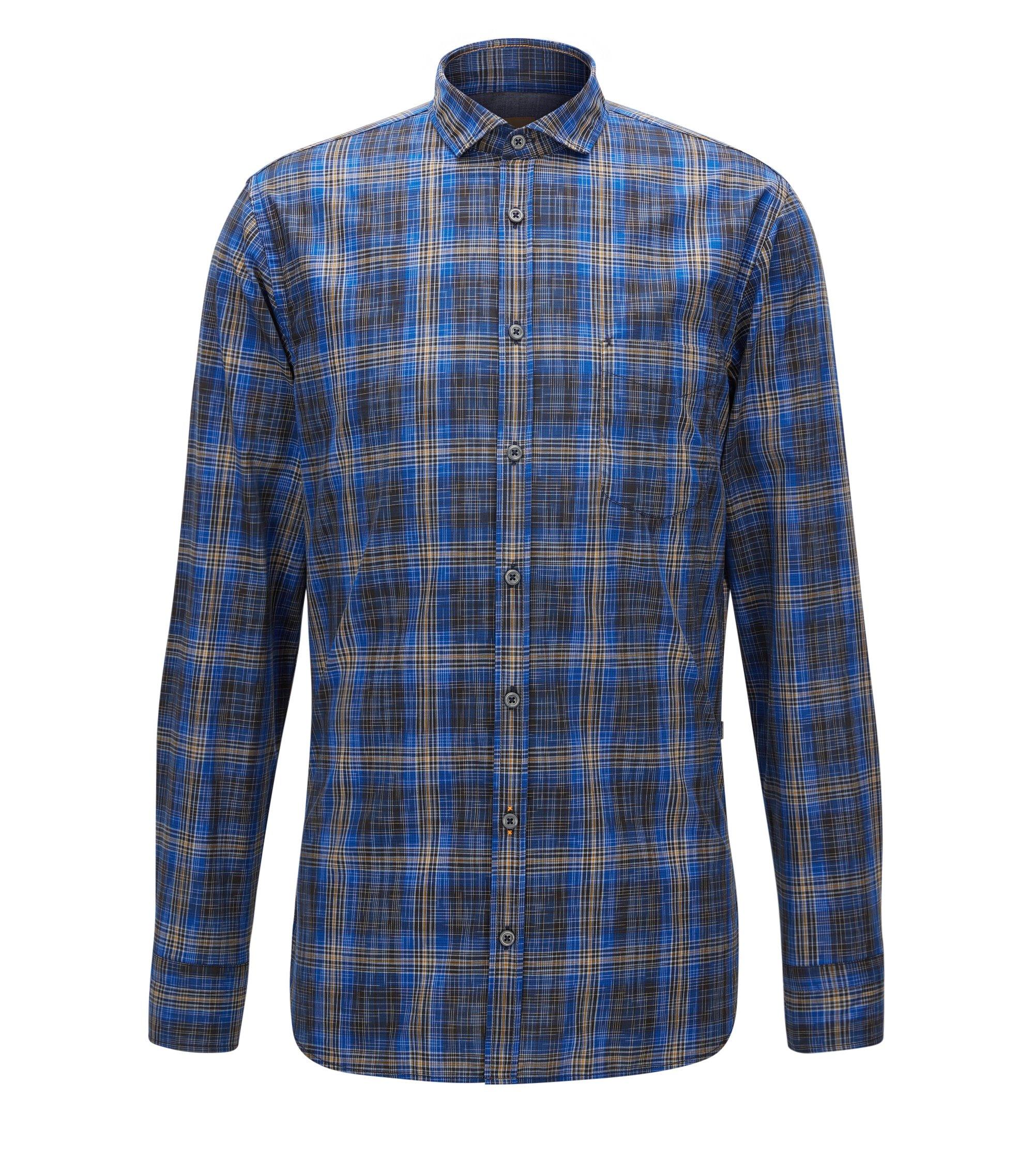 Slim-fit overhemd van katoen met prince-of-wales-ruiten, Blauw