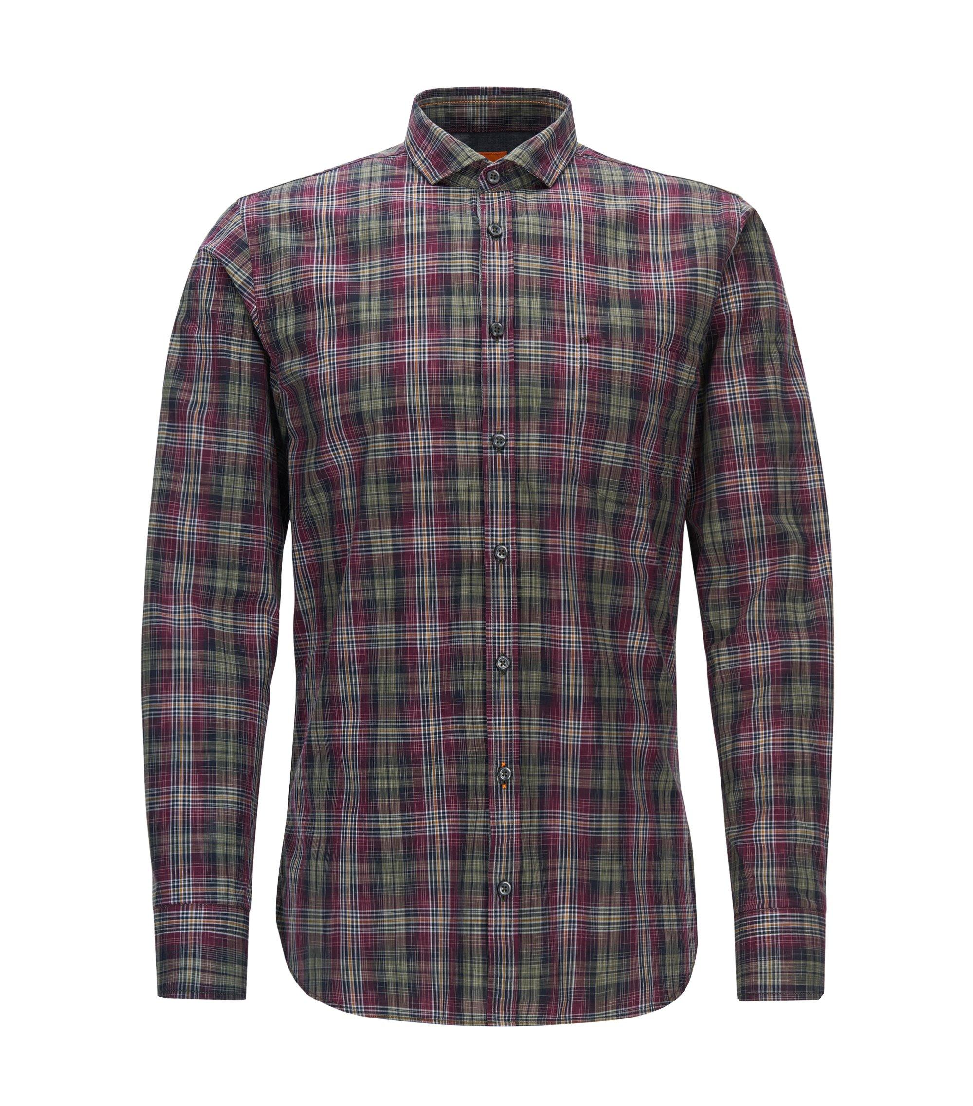 Camicia slim fit in cotone principe di Galles, A disegni