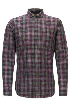 Slim-fit shirt in Glen plaid cotton, Patterned