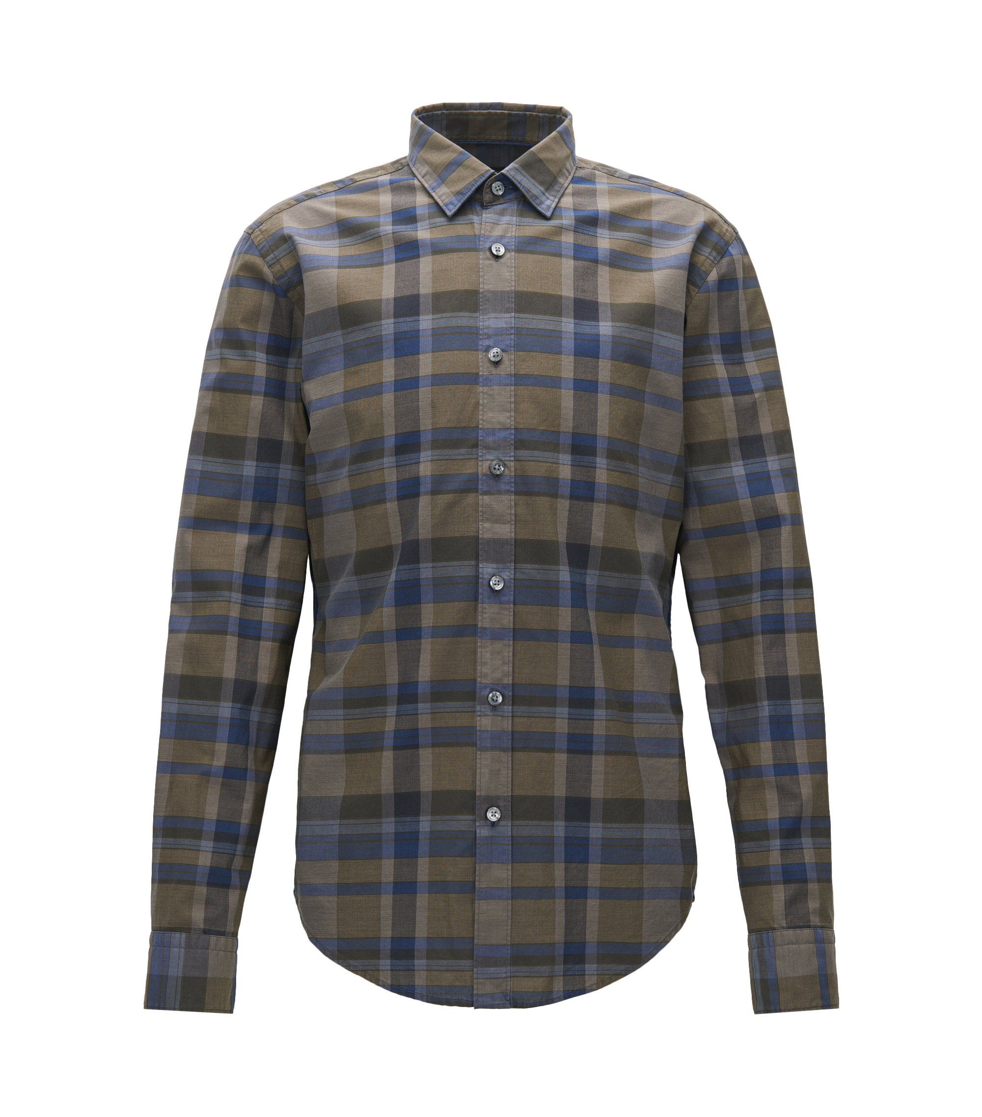 Slim-fit checked shirt in washed cotton, Patterned
