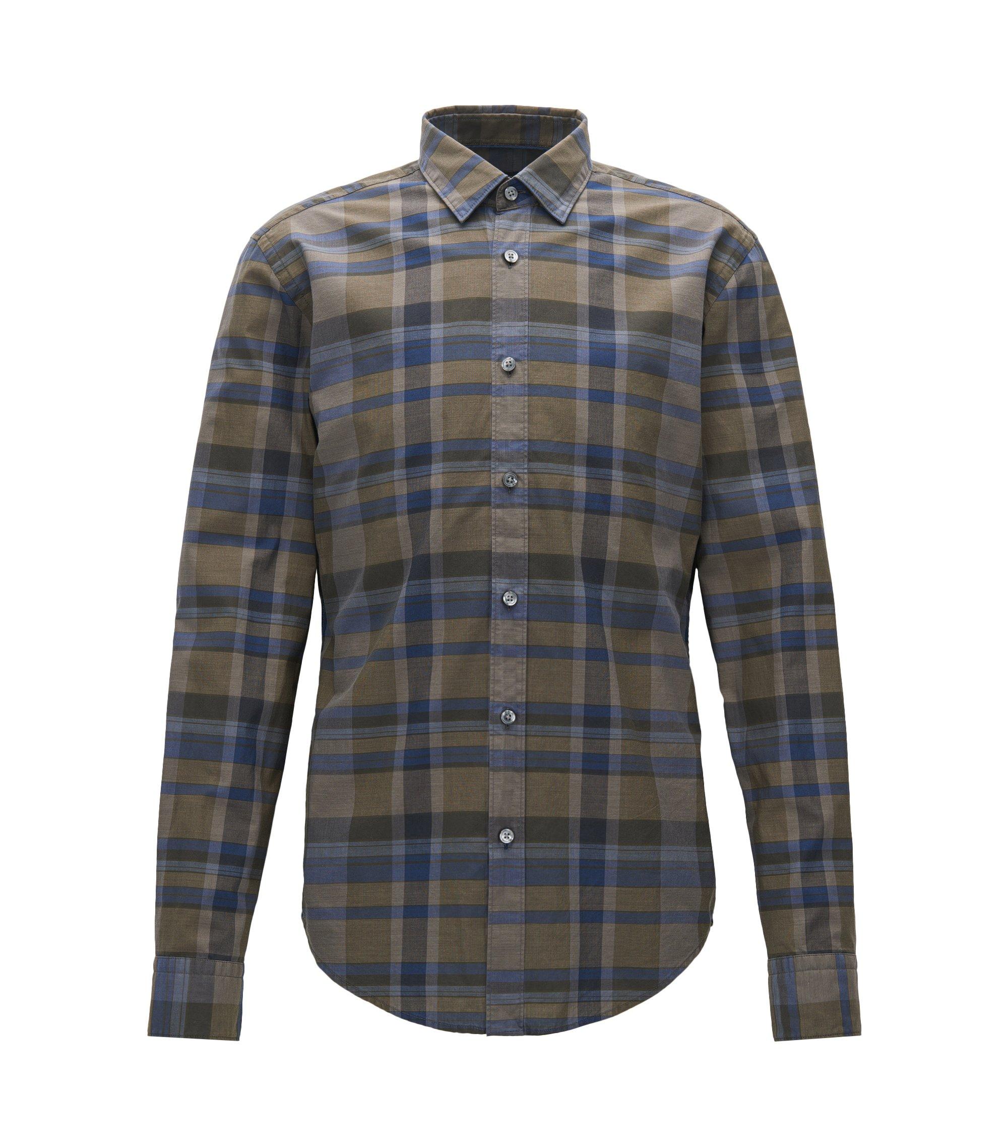 Camicia a quadri slim fit in cotone lavato, A disegni