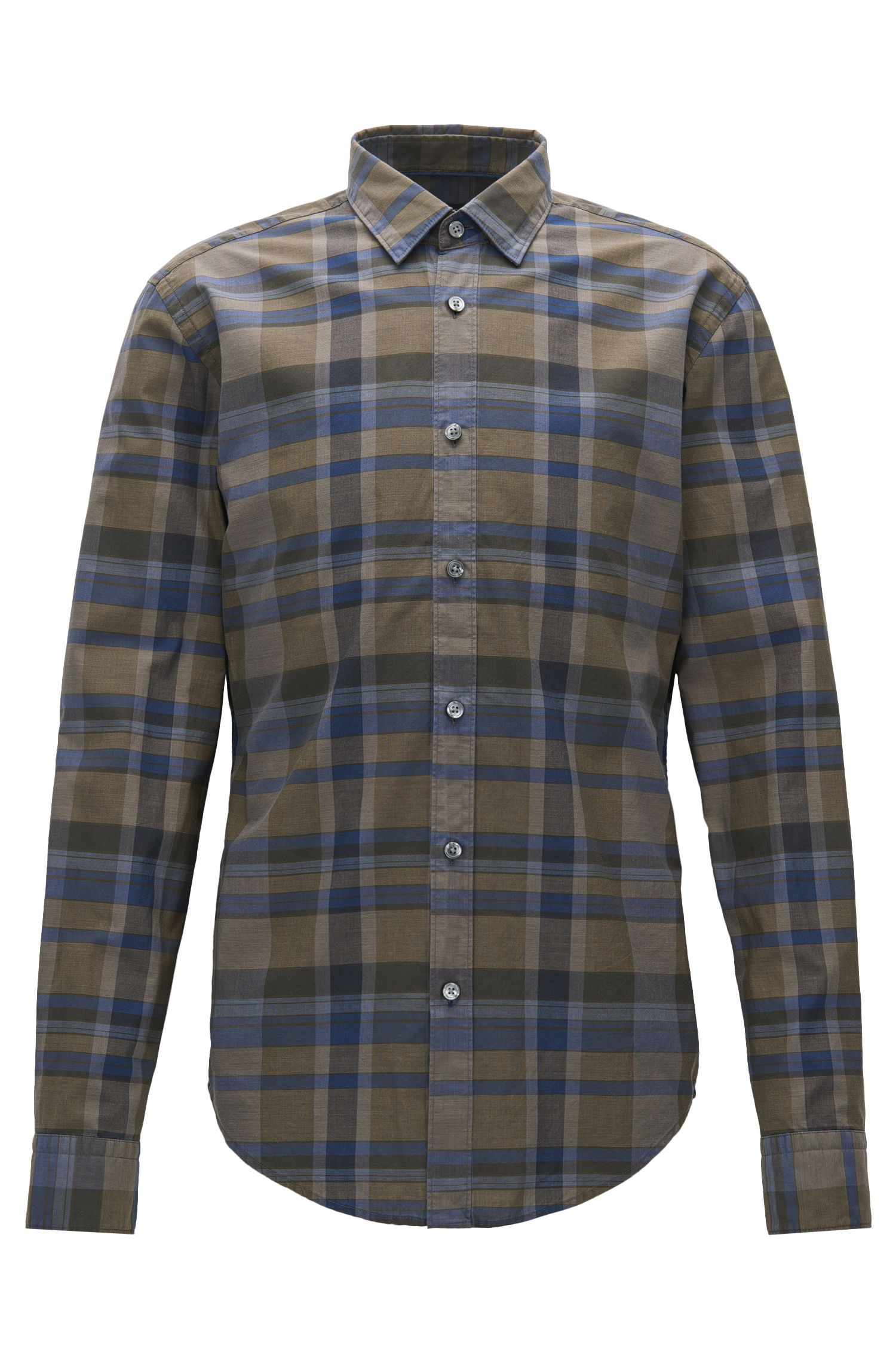 Slim-fit checked shirt in washed cotton