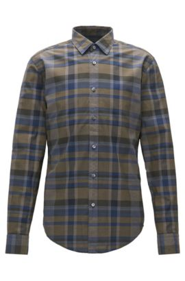 Slim-fit checked shirt in washed cotton, Open Green
