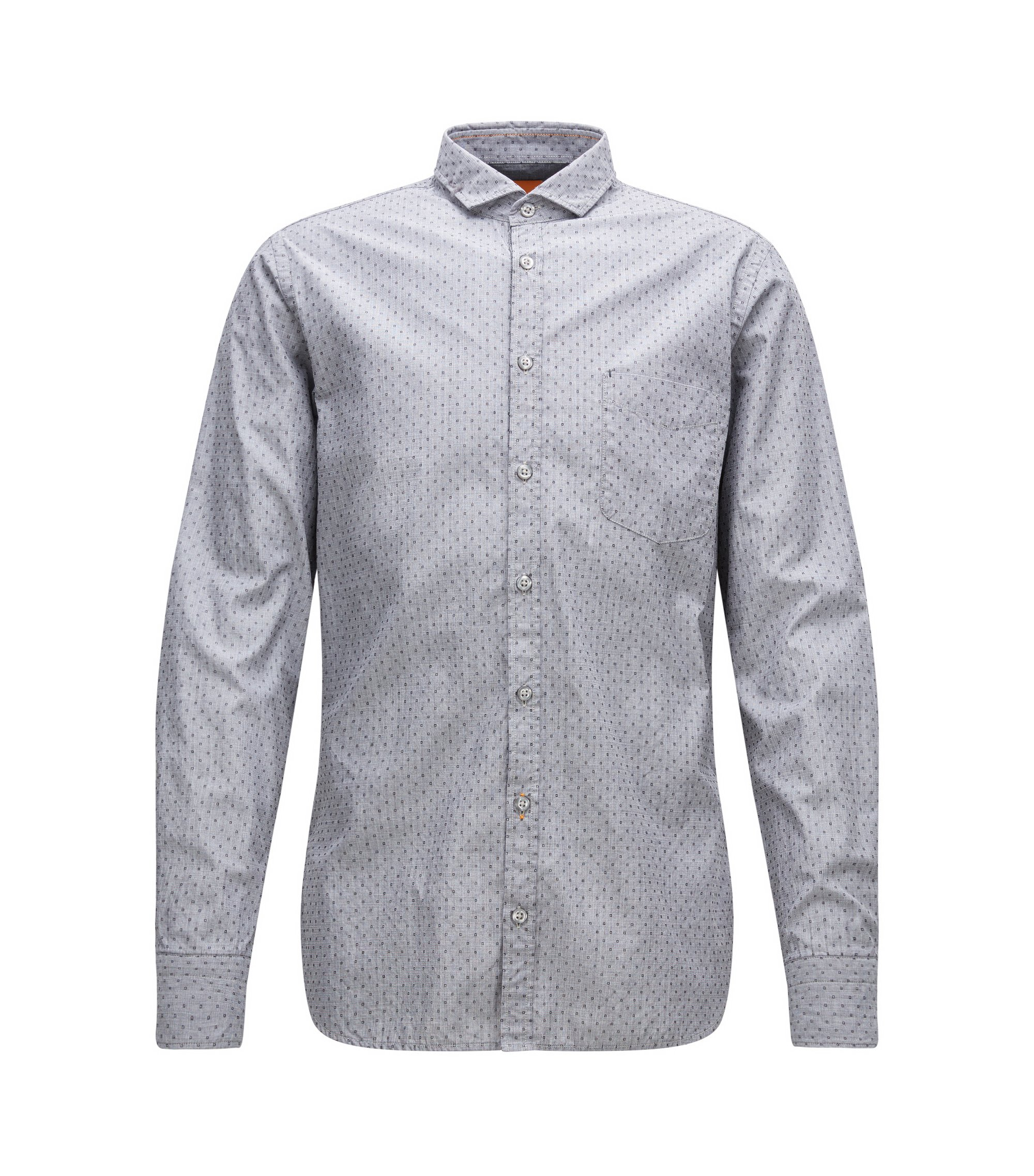 Slim-fit overhemd van fil-à-fil-katoen, Grijs