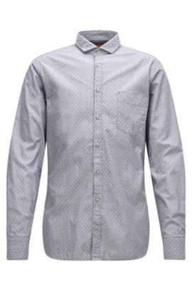 Slim-fit shirt in end-on-end cotton, Grey