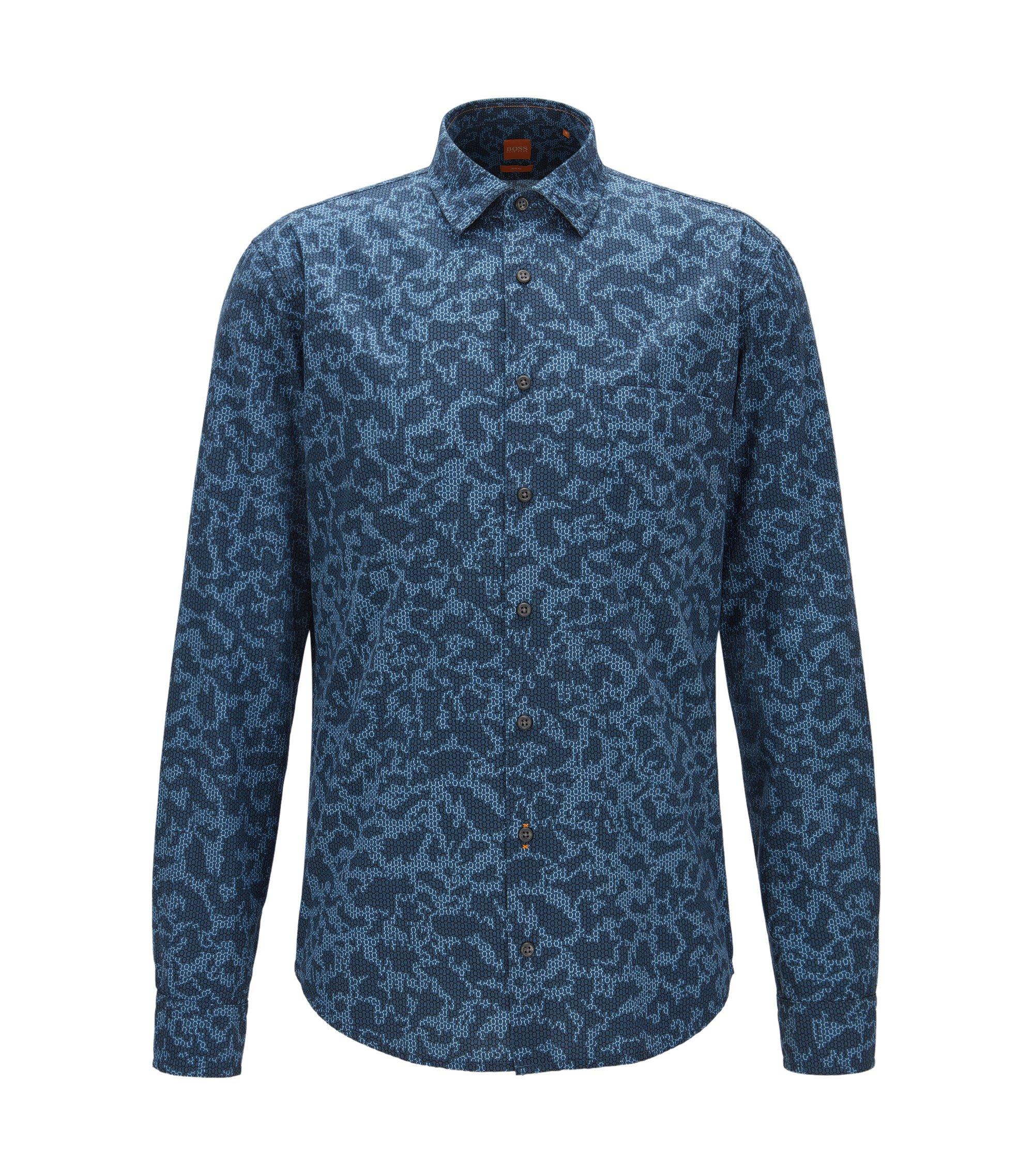 Slim-Fit Hemd aus Baumwolle-Popeline mit Digitaldruck, Gemustert