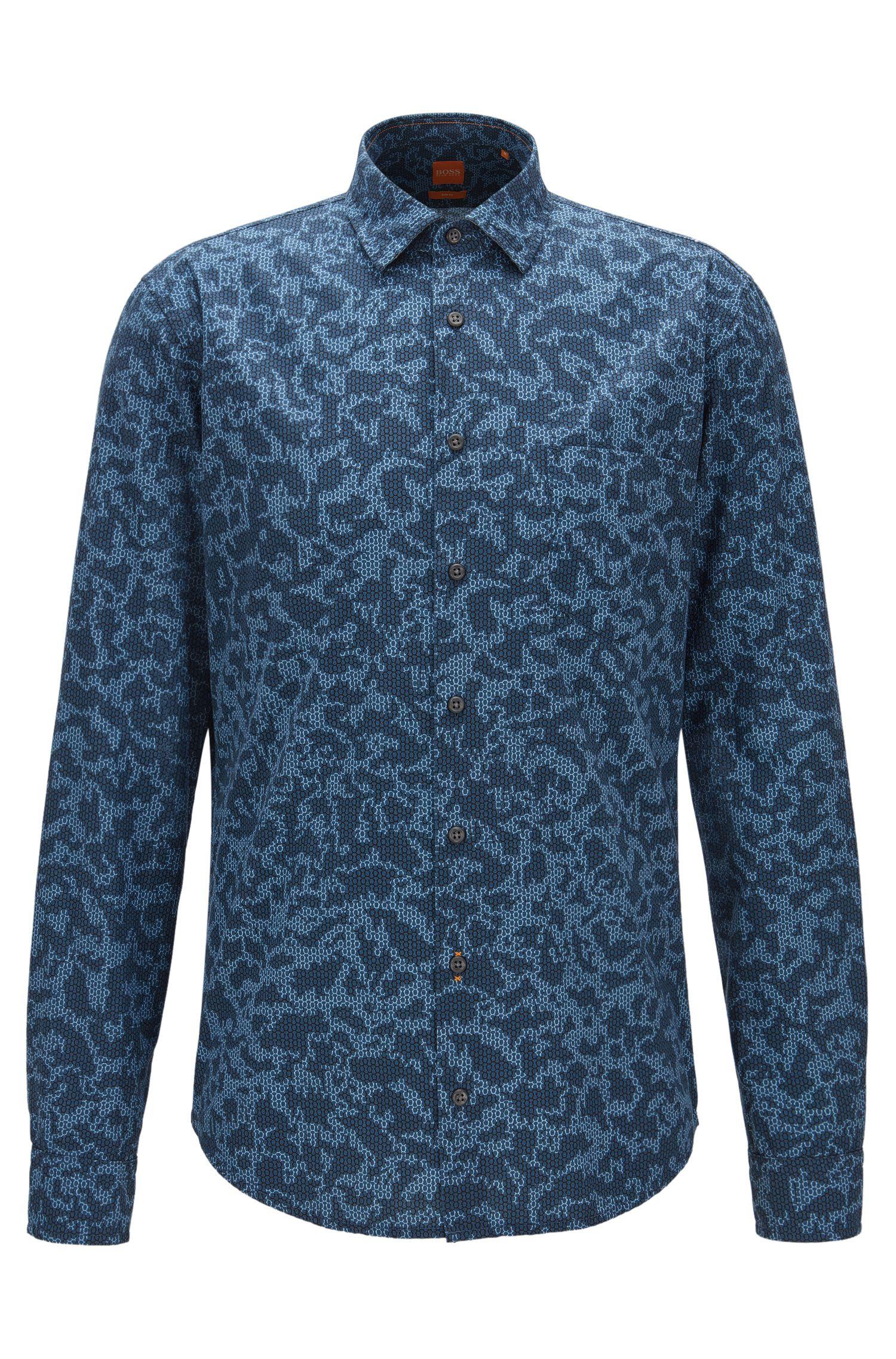 Slim-Fit Hemd aus Baumwolle-Popeline mit Digitaldruck