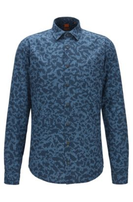 Slim-fit shirt in digitally printed cotton poplin, Patterned
