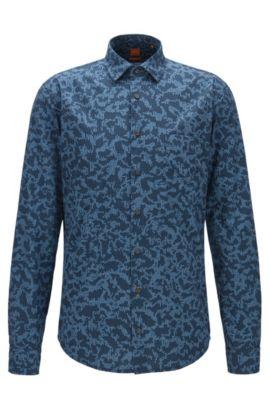 Camicia slim fit in popeline di cotone con stampa digitale, A disegni