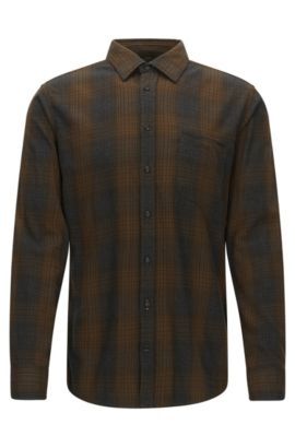 Regular-fit overhemd van een katoenmix, Donkergroen