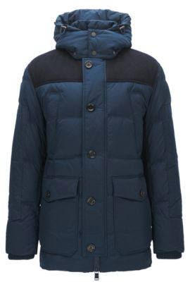 Relaxed-fit padded jacket in technical fabric, Dark Blue
