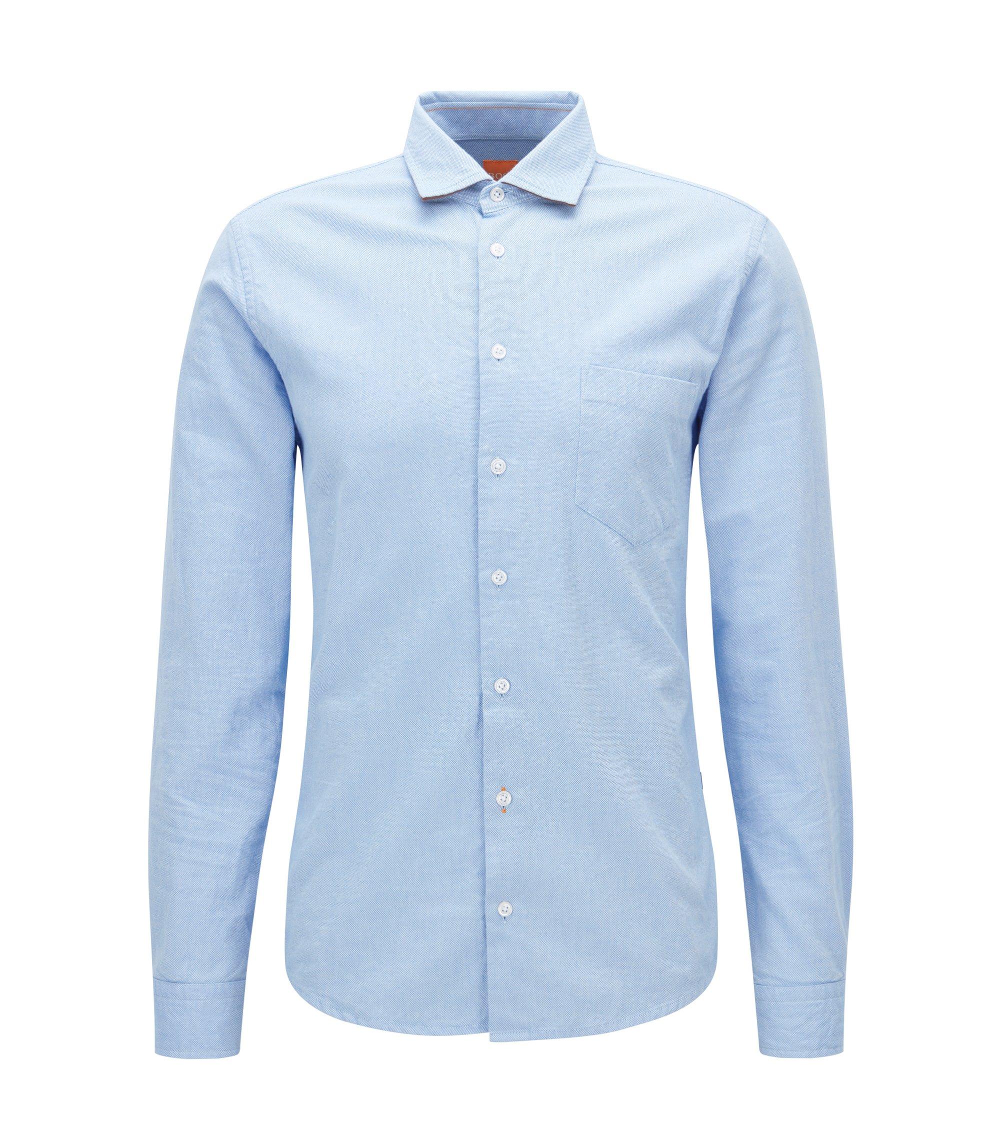 Camisa slim fit en algodón Royal Oxford cepillado, Celeste