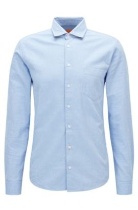 Camicia slim fit in cotone Royal Oxford spazzolato, Celeste