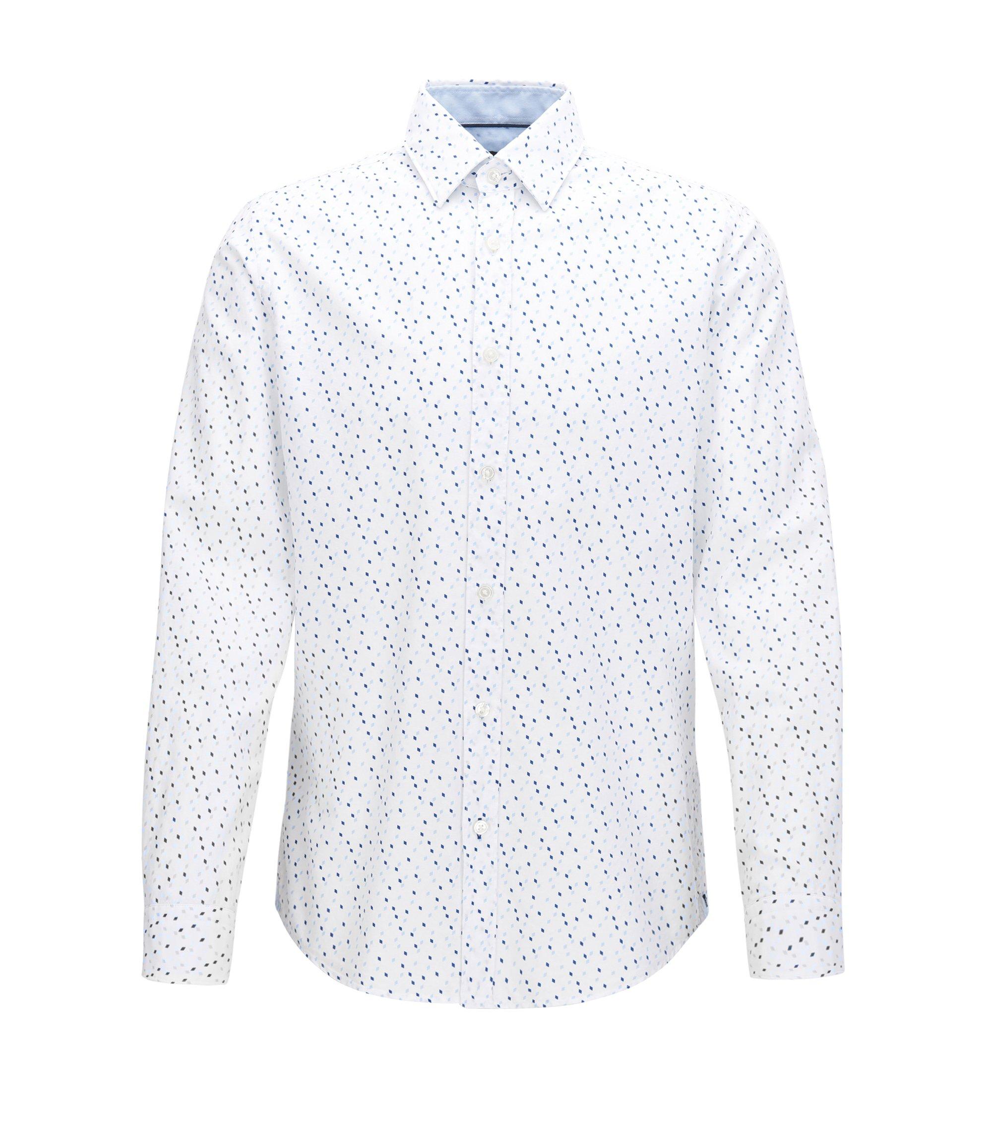 Camicia regular fit in cotone con stampa Argyle, A disegni