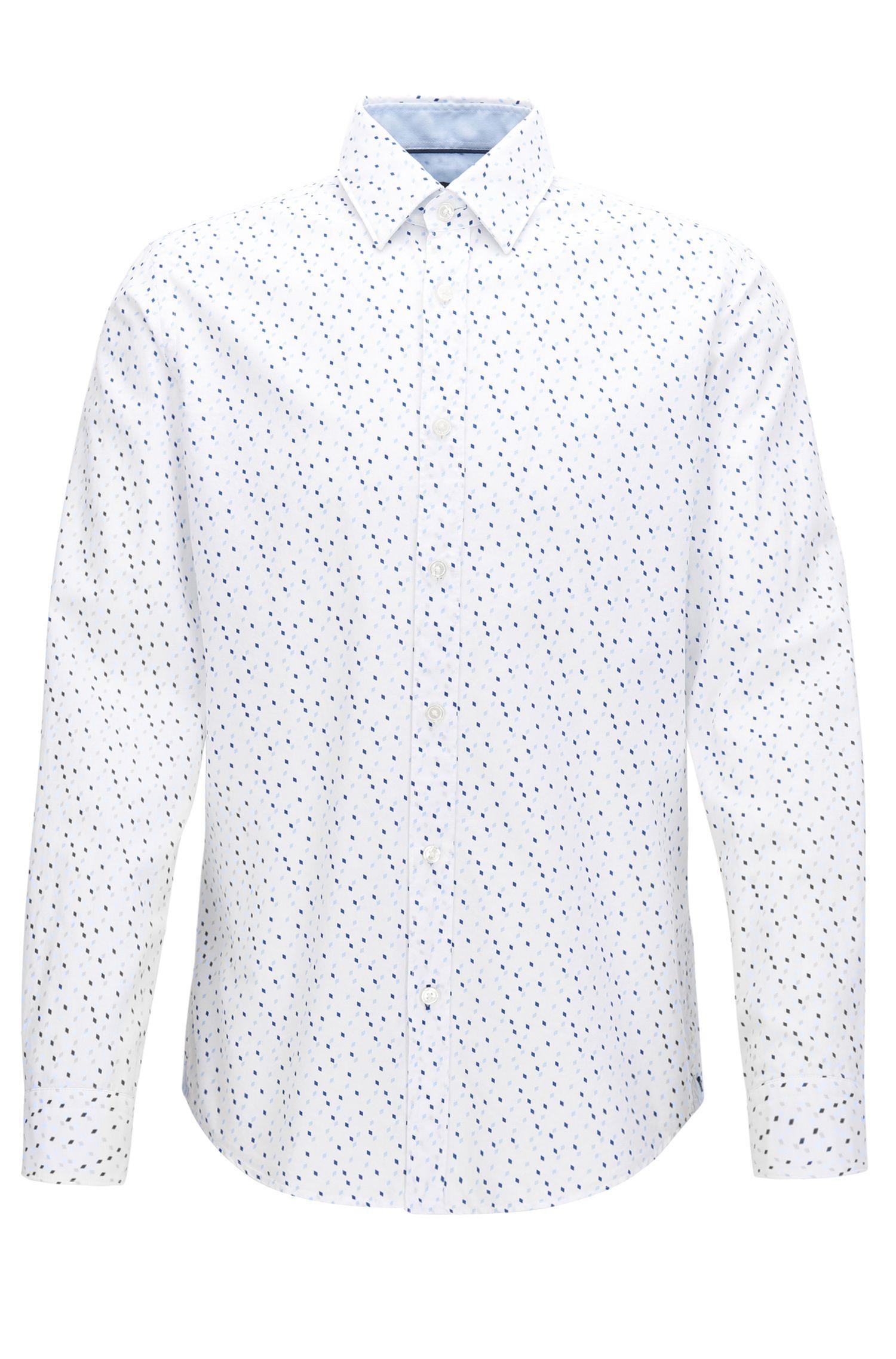 Camicia regular fit in cotone con stampa Argyle