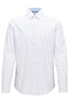 Regular-fit cotton shirt with Argyle print, Patterned