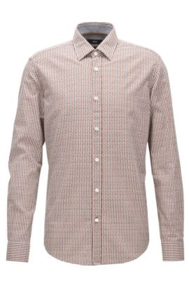 Regular-fit shirt in Vichy-check cotton, Patterned