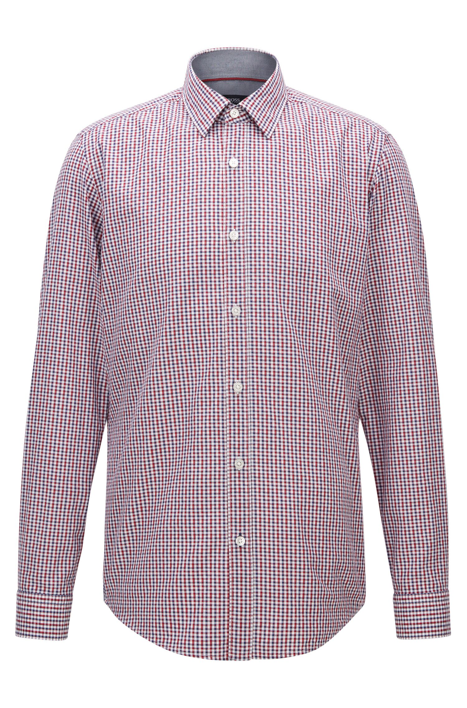 Camicia regular fit in cotone a quadri Vichy