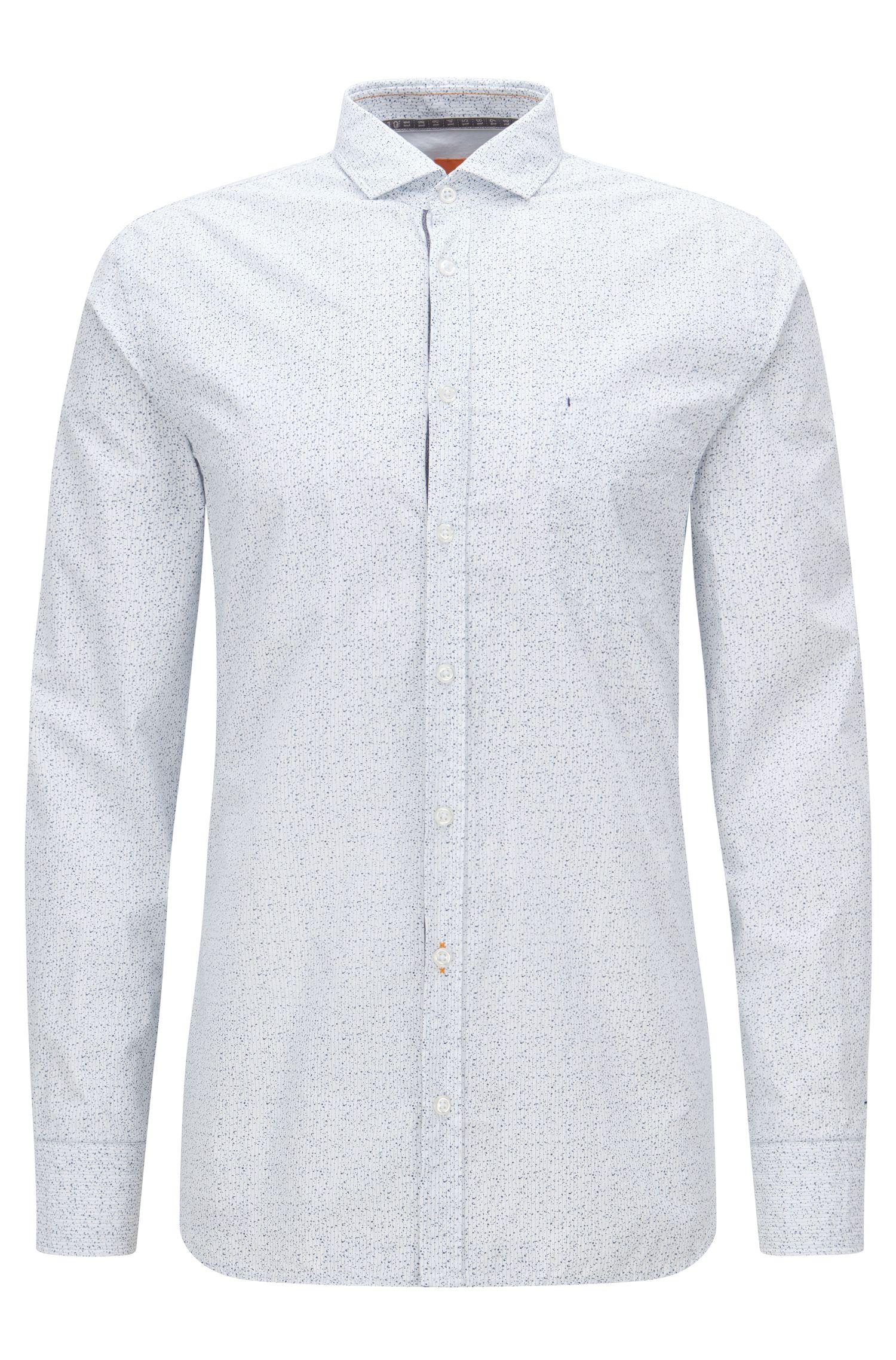 Fein gemustertes Slim-Fit Hemd aus reiner Baumwolle