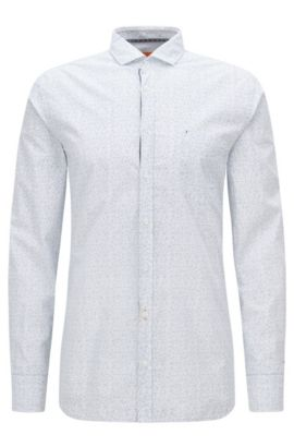 Slim-fit micro-pattern shirt in cotton, Natural