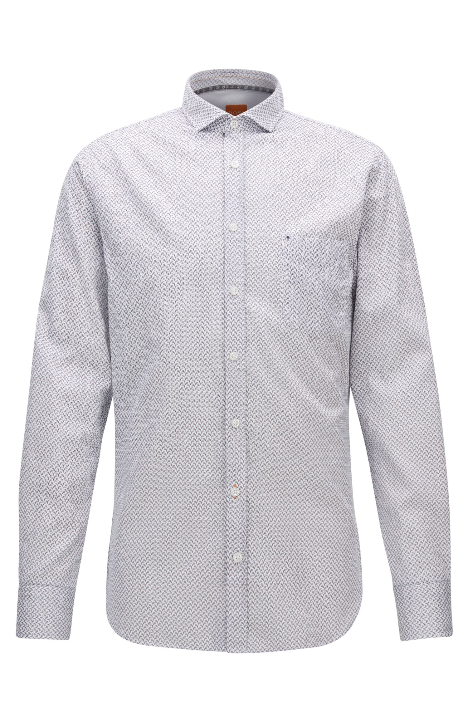 Slim-fit micro-pattern shirt in cotton