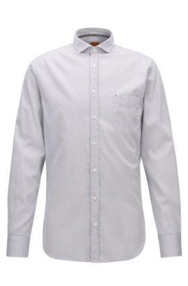 Fein gemustertes Slim-Fit Hemd aus reiner Baumwolle, Gemustert