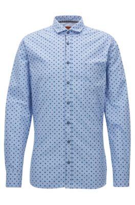 Slim-fit overhemd van katoen met microdessin, Bedrukt