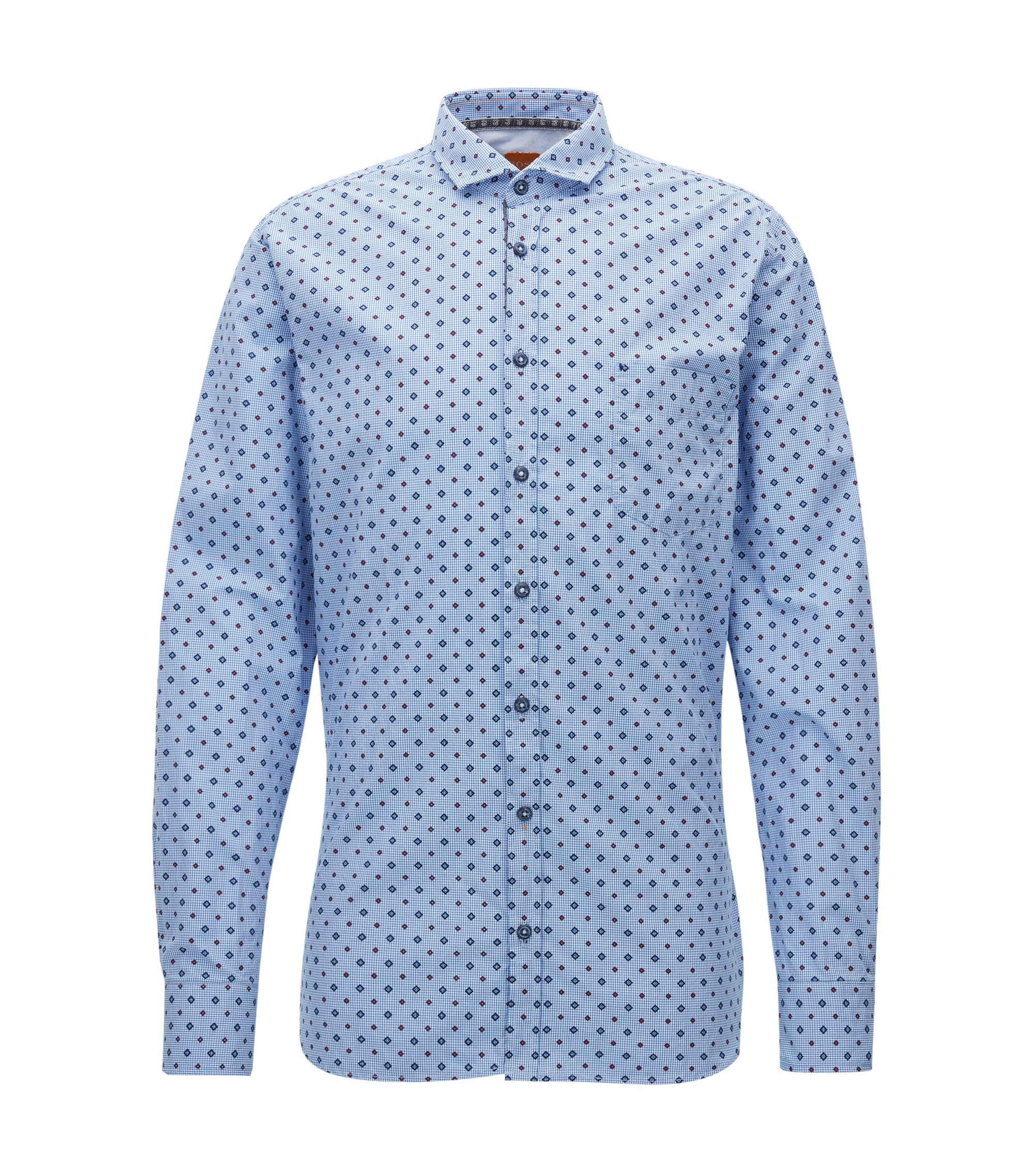 Slim-fit micro-pattern shirt in cotton, Patterned