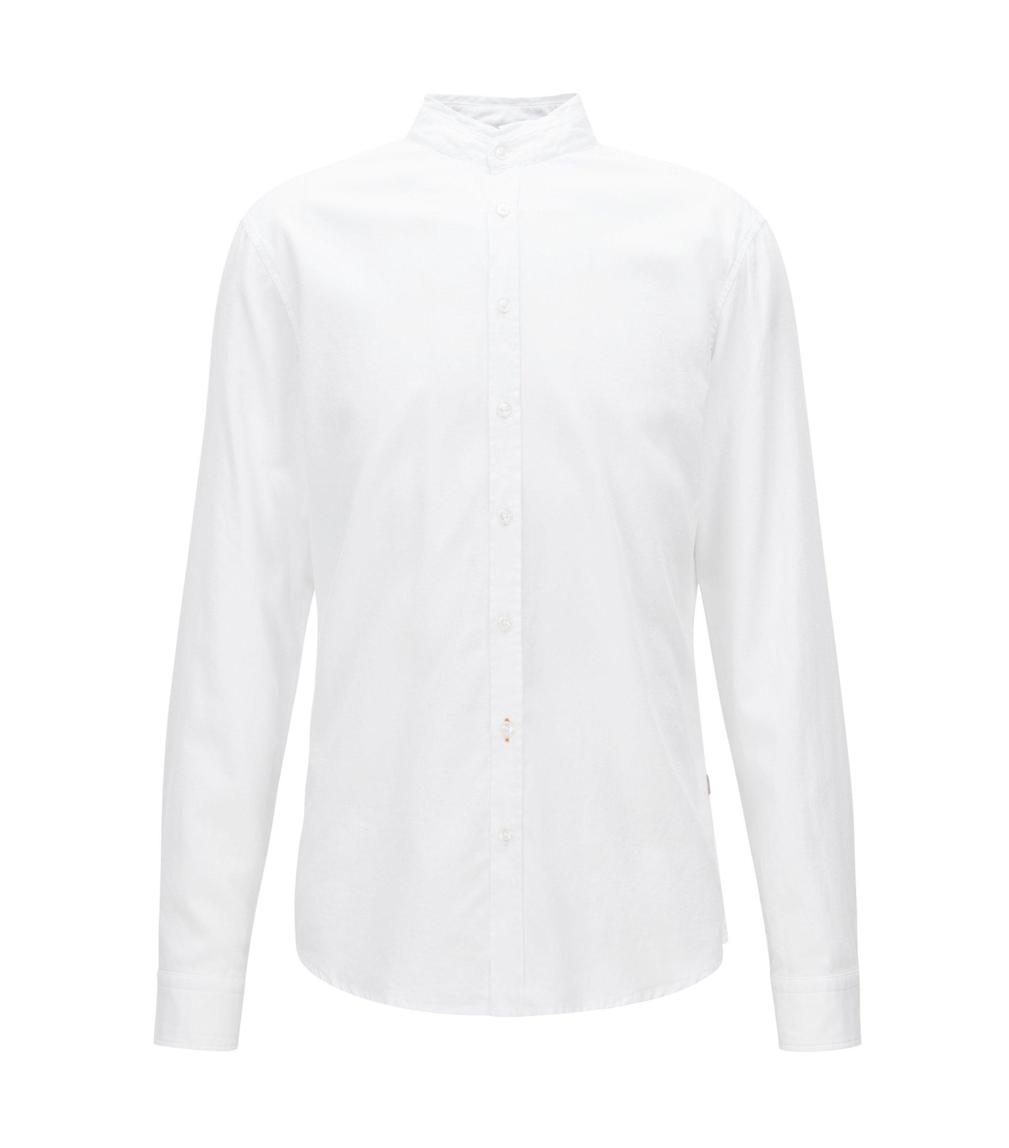 Chemise Regular Fit en coton Oxford à col montant, Blanc
