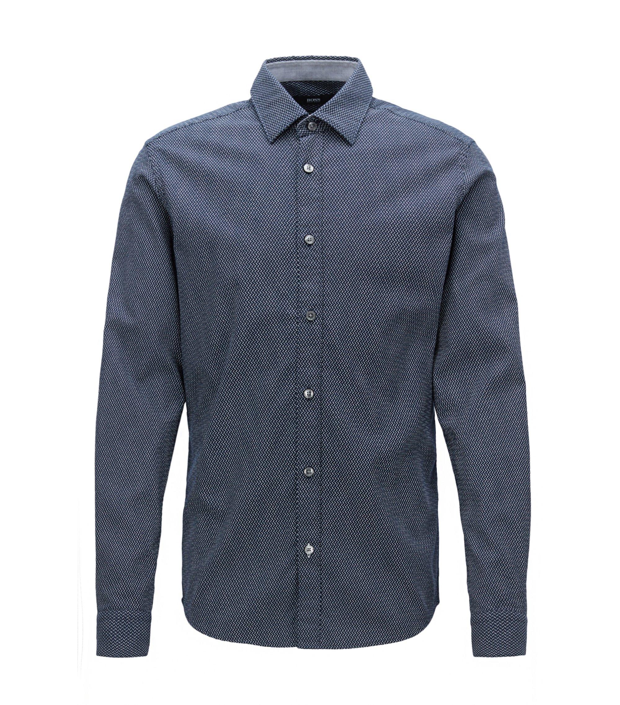 Camisa de algodón con textura regular fit , Azul oscuro